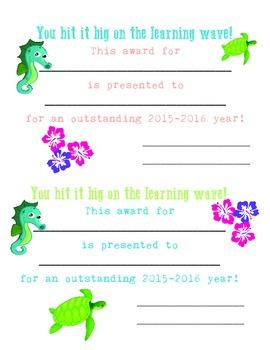 Tropical Classroom Award 2015-2016