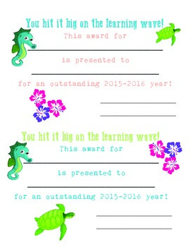 Tropical Classroom Award 2015-2016