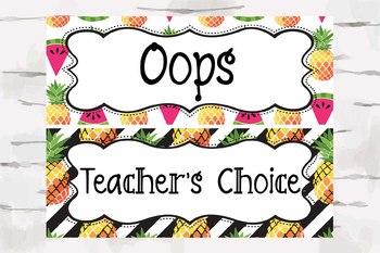 Tropical Classroom Behavior chart, Pineapple Decor, Tropical Decor