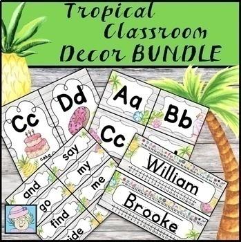 Alphabet Wall Cards | Meet the Teacher Letter EDITABLE Tropical Decor BUNDLE