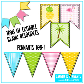 Tropical Classroom Decor: Banners and Pennants *EDITABLE*