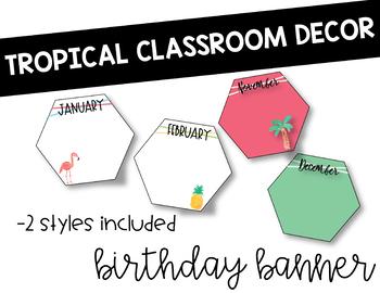 Tropical Classroom Decor: Birthday Banner