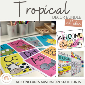Tropical Classroom Decor Bundle | Editable