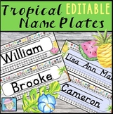 Name Tags for Desks EDITABLE | Tropical Classroom Decor EDITABLE