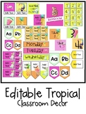 Tropical Classroom Decor Editable BUNDLE