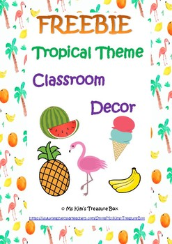 Tropical Classroom Decor FREEBIE - Name tags
