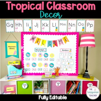 Tropical Classroom Decor Fully Editable Flamingo Pineapple Theme Updated