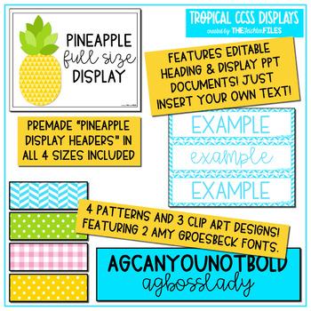 Tropical Classroom Decor - Kindergarten CCSS Posters EDITABLE