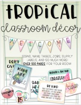 EDITABLE Tropical Classroom Decor Set