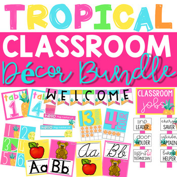 Classroom Decor Bundle | Tropical Theme | Tropical Classroom Decor | EDITABLE