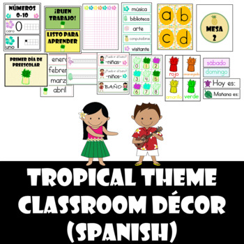 Tropical Classroom Decor Set (Spanish)