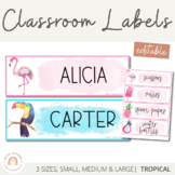 Tropical Classroom Labels and Student Name Plates | Editable