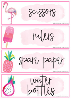 Tropical Classroom Labels and Student Name Plates   Editable