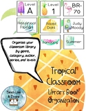 Tropical Classroom Library Book Organization and Labels