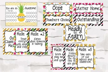 Tropical Classroom, Pineapple Classroom Decor Bundle pack