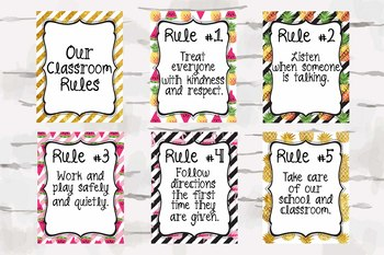 Tropical Classroom Rules, Pineapple Decor, Watermelon Decor, Flamingo Decor