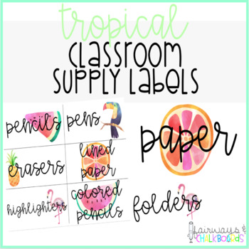 Tropical Classroom Supply Labels