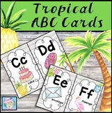 Alphabet Wall Cards with Pictures & Words Tropical Classroom Decor
