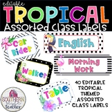 Tropical Classroom Theme Assorted Editable Class Labels