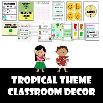 Tropical Classroom Theme Decor Set