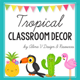 Tropical Theme Classroom Decor, Library Labels, Classroom Jobs