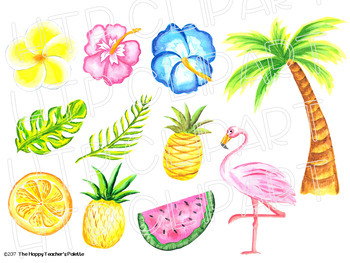 Tropical Clip Art Watercolor {The Happy Teacher's Palette Clip Art}