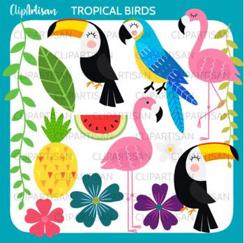 Tropical Birds Clip Art, Flamingo, Toucan, Parrot