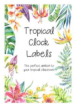 Tropical Clock Labels