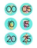 Tropical Clock Labels Bilingual- English & Spanish