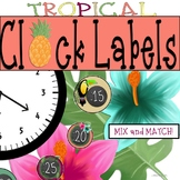 Tropical Clock Labels: Pineapples, Flamingos - Tropical Cl