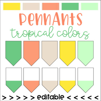 Tropical Colored Pennants (editable)