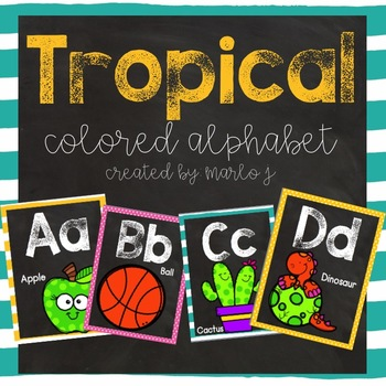 Tropical Colored and Chalkboard Alphabet Posters