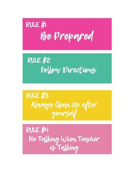 Tropical Colors Bulletin Board Classroom Rules Set and Labels {EDITABLE}