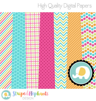 Tropical Colors Digital Papers