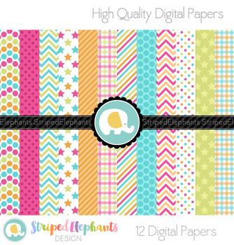 Tropical Colors Digital Papers