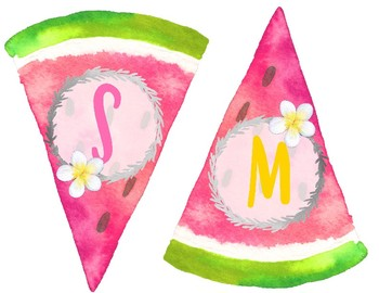 Tropical Crush Decor Collection: Pineapple & Watermelon Bunting Banner