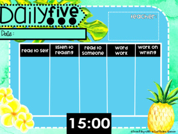 Tropical Daily Five 5 Boards with Timers - Editable!