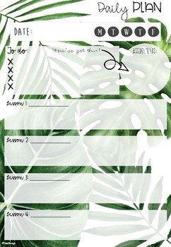 Tropical Daily Planner Page