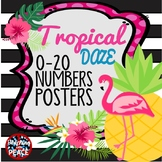 Tropical Daze (pineapple & flamingo) 0-20 Numbers Posters
