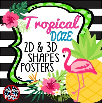 Tropical Daze (pineapple & flamingo) 2D & 3D Shapes Posters