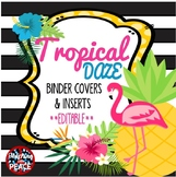 Tropical Daze (pineapple & flamingo) Binder Covers and Ins