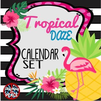 Tropical Daze (pineapple & flamingo) Calendar Set