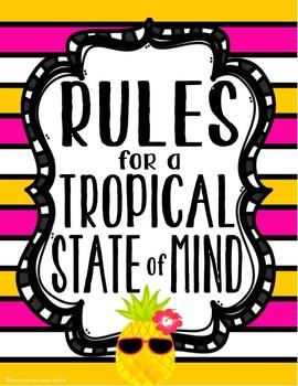 Tropical Daze (pineapple & flamingo) Classroom Rules Posters *editable*