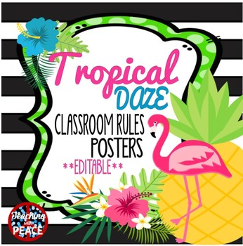 Tropical Daze (pineapple & flamingo) Classroom Rules Posters *editable*