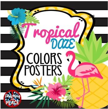 Tropical Daze (pineapple & flamingo) Colors Posters