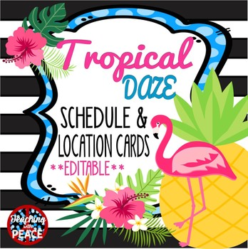 Tropical Daze (pineapple & flamingo) Schedule and Location Cards *editable*