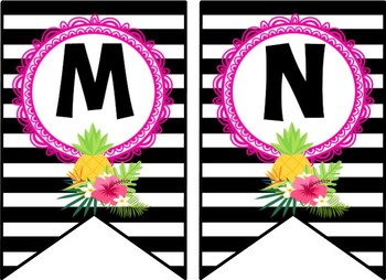 Tropical Daze (pineapple & flamingo) Word Wall Headers and Pennants *editable*