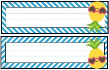 Tropical Daze (pineapples and flamingos) Name Plates **editable**
