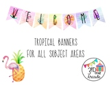 Tropical Decor Banners With Watercolor Background