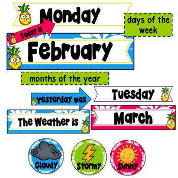 Tropical Calendar Decor ~ Editable